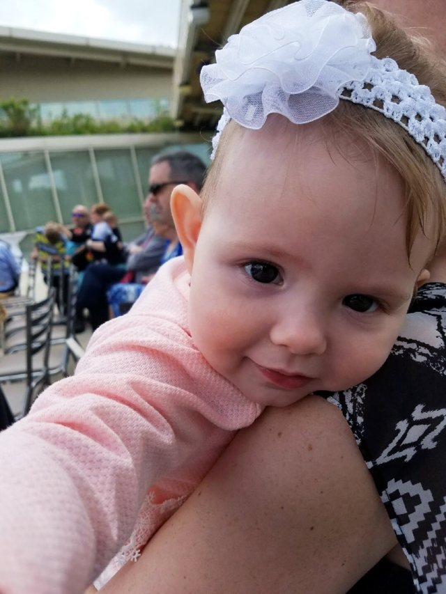 Madison without her plagiocephaly helmet. After treatment was complete.